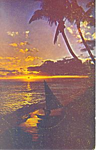 Sunset Waikiki Hawaii Postcard p18879 (Image1)