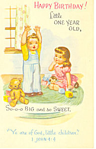 Happy Birthday Postcard 1 John 4:4 (Image1)