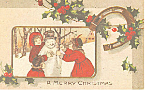 Children with snowman Christmas (Image1)