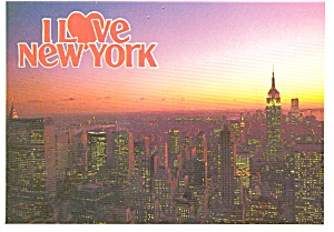 New York City Empire State Building at Dusk Postcard p1897 (Image1)