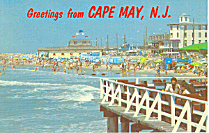 Beach Scene at Cape May, NJ  Postcard (Image1)