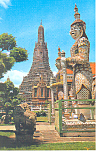 Guardians of the wat Arun Bangkok,Thailand Postcard (Image1)