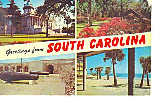 Greetings From South Carolina Postcard p19070 (Image1)