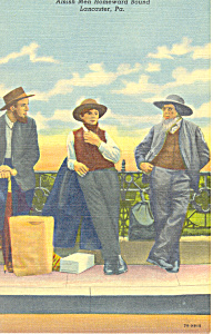 Amish Men Homeward Bound Lancaster PA Postcard (Image1)