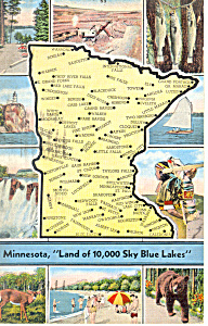 State Map of Minnesota Postcard (Image1)