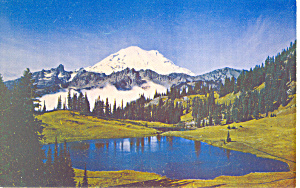 Mt Rainier and Tipsoo Lake, Washington Postcard (Image1)