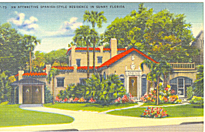 Spanish Style Home in Sunny Florida Postcard p19138 (Image1)