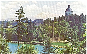 Washington State Capitol and Mt Rainier Pcard (Image1)