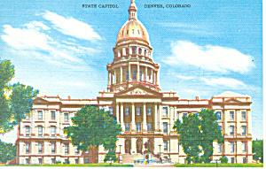 State Capitol Denver Colorado Linen Postcard (Image1)