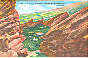 Denver Mountain Parks Denver Colorado Linen Postcard P19147
