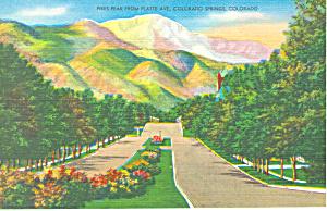Pikes Peak From Colorado Springs Colorado Postcard p19151 (Image1)