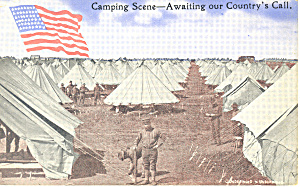 US Army Troops Camping Scene Postcard (Image1)