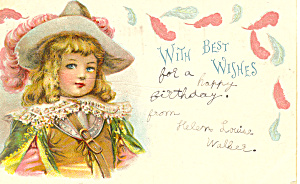 Vintage Birthday Postcard with Victorian Girl 1905 (Image1)