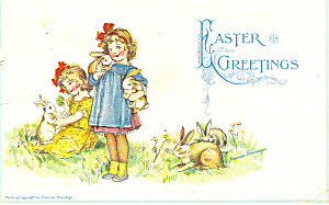 Frances Brundage Easter,little Girls, Postcard 1914