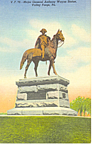 General Wayne Statue Valley Forge PA Postcard p19351 (Image1)