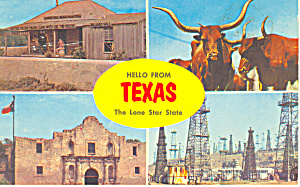 Hello from Texas,Four Views Postcard (Image1)