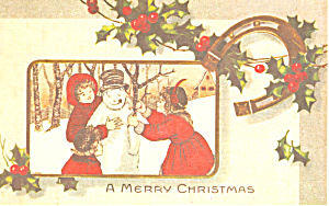Children Building a Snowman Christmas (Image1)