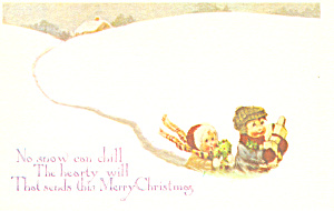 Young Children in Snow Christmas Postcard p19504 (Image1)