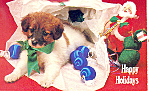 Happy Holidays Puppy in Wrapping Paper Postcard p19512 (Image1)