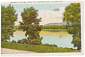 Louisville KY Ohio River Postcard p1955 (Image1)
