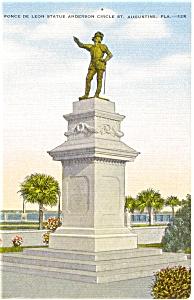 St Augustine FL Ponce de Leon Statue Postcard p1970 (Image1)