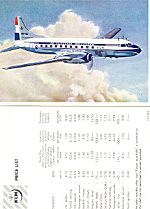 KLM Propliner on a Price List (Image1)