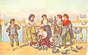 Feeding the Pigeons Tessari Postcard p19847 (Image1)