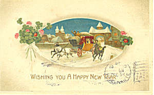 A Happy New Year with Coaching Scene Postcard p19946 (Image1)