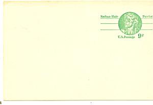UX72   9 Cent Nathan Hale Postal Card (Image1)