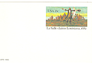 Ux95 13 Cent Lasalle Claims Louisiana Postal Card