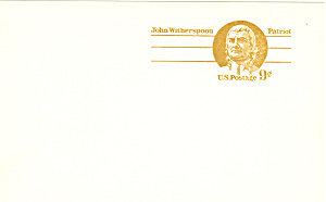 Ux69 9 Cent John Witherspoon Postal Card