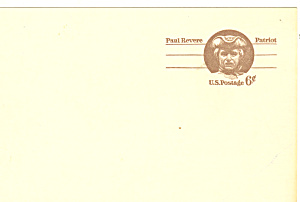 Ux58 6 Cent Brown Paul Revere Postal Card