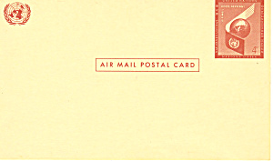 United Nations 6 Cent Airmail Postal Card (Image1)