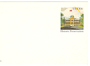 Ux 81 10 Cent Iolani Palace Postal Card