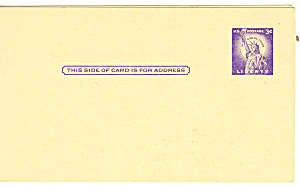 UX46 3 Cent purple Statute of Liberty Postal Card (Image1)