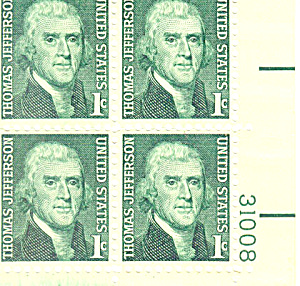 #1278 1 Cent Thomas Jefferson Plate Block
