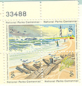 #1451a -  2 Cent National Parks Centennial Plate Block (Image1)