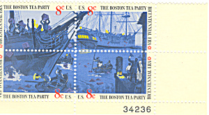 #1483a -  8 Cent Boston Tea Party Plate Block (Image1)