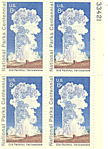 #1453 -  8 Cent Old Faithful Yellowstone Plate Block (Image1)