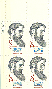 #1446 -  8 Cent Sidney Lanier Plate Block (Image1)