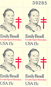#1823 -  15 Cent Emily Bissel  Plate Block (Image1)