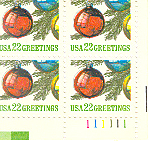 #2368 -  22 Cent Christmas Ornaments  Plate Block (Image1)