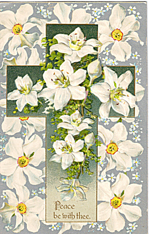 Easter Vintage Postcard Cross and Flowers p20180 (Image1)