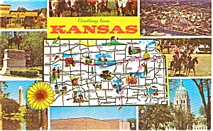 Kansas State Map  Multi Views Postcard (Image1)