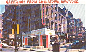 Greetings From Chinatown New York  Postcard p2093 (Image1)