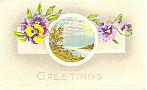Greetings Flowers and Water Scene Postcard p21047 (Image1)