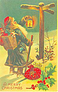 Santa with Basket of Toys Green Robe Postcard p21112 (Image1)
