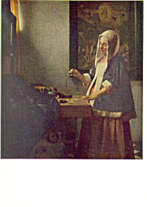A Woman Weighing Gold Vermeer Postcard p21139 (Image1)