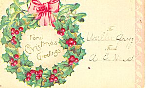 Fond Christmas Greetings Postcard p21201 (Image1)