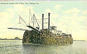Steam Boat Loaded with Cotton New Orleans Louisiana p21725 (Image1)